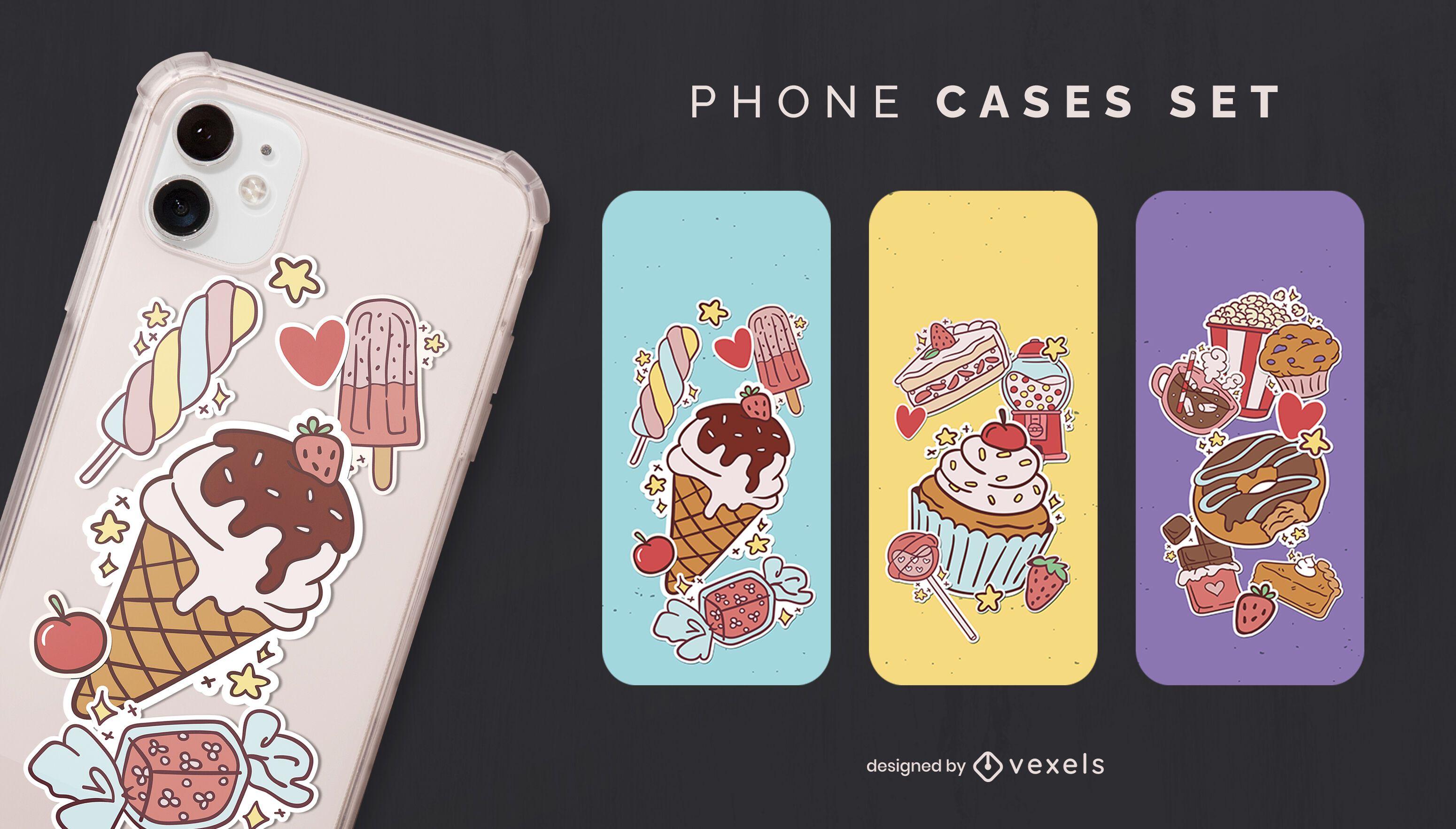 Conjunto de capa de celular para sobremesas