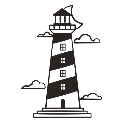 Lighthouse with moon filled stroke