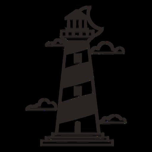 Sillhouette del faro náutico - 0