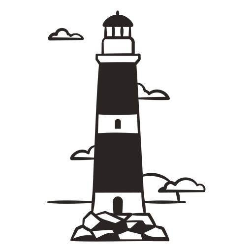 Lighthouse on rocks filled stroke
