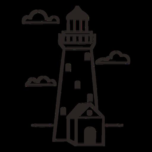 White lighthouse filled stroke
