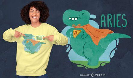 Design de camiseta de dinossauro de Áries