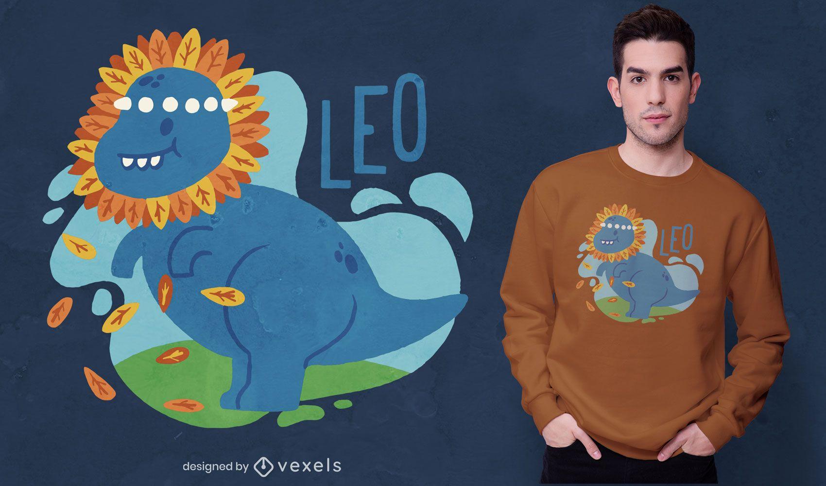 Diseño de camiseta de dinosaurio Leo