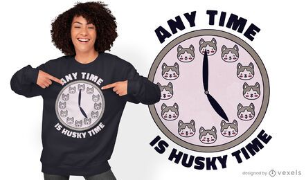 Siberian husky dog time t-shirt design