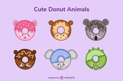 Conjunto de donut fofo de animal