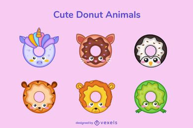 Paquete lindo donut animal