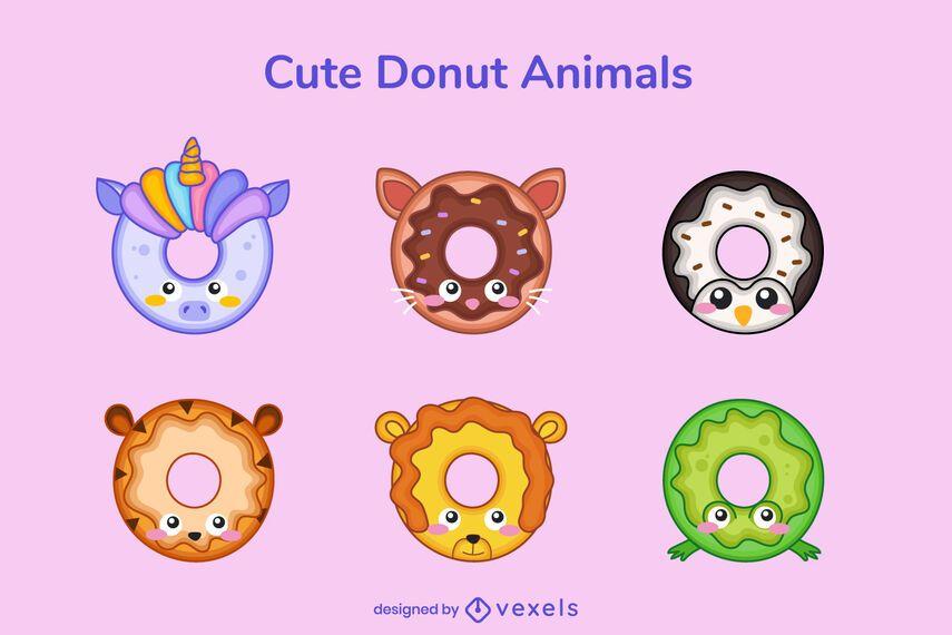 Paquete lindo donut animal