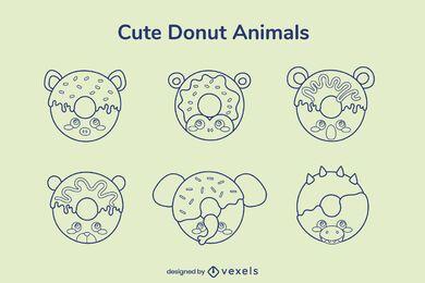 Conjunto de trazos de animales donut