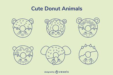 Donut animal stroke set