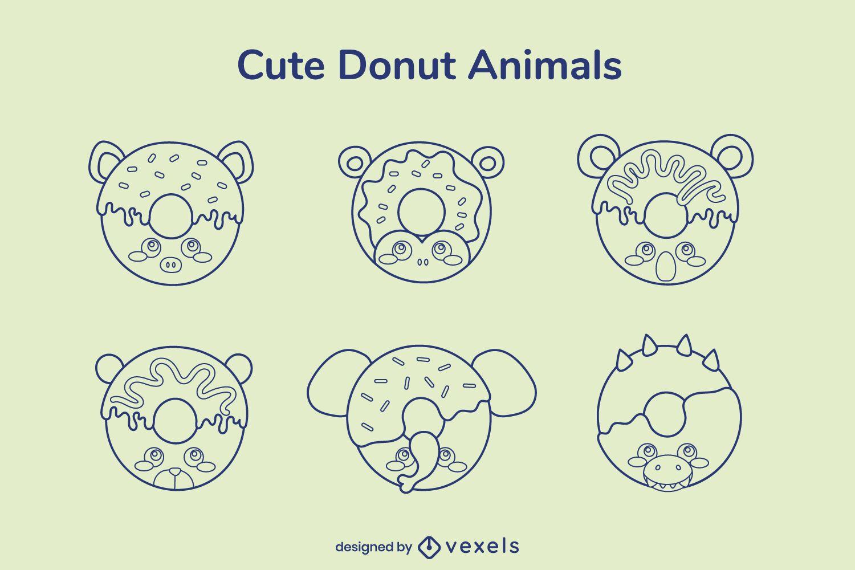Donut animal stroke set