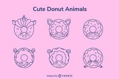 Pacote de donut de curso para animais