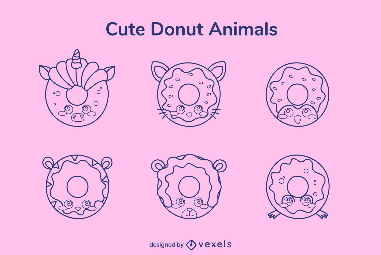 Stroke donut animal pack
