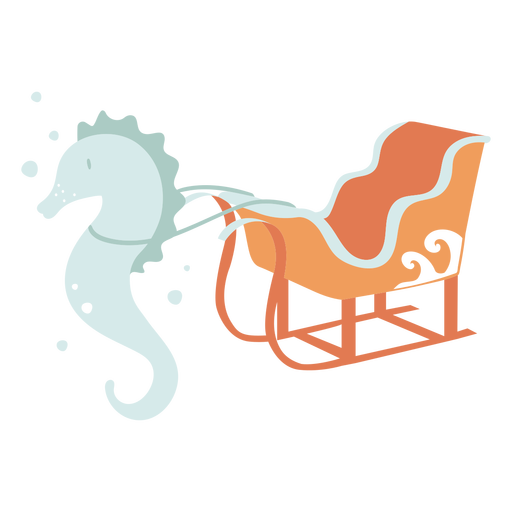 Seahorse with christmas sleigh flat