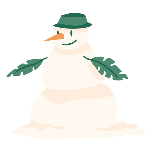 Christmas snowman with leaves