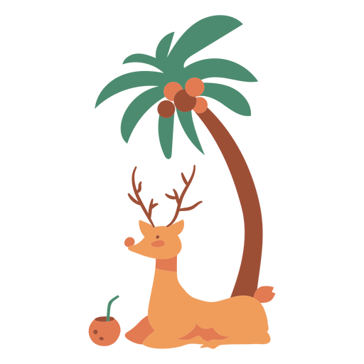 Reindeer and palm with drink flat