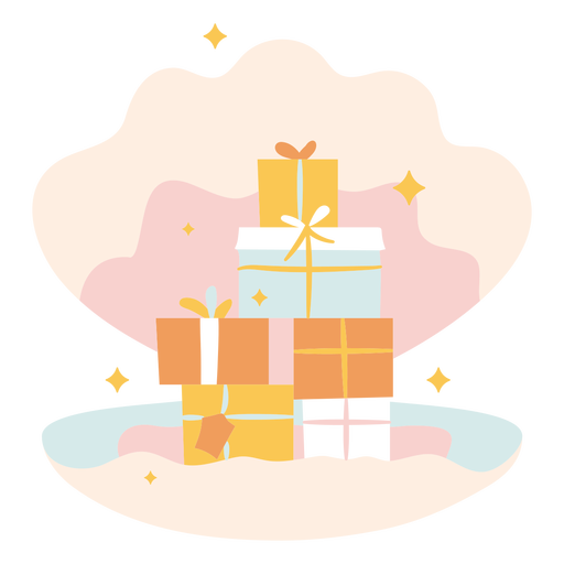 Christmas gifts in shell flat