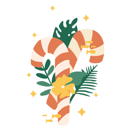 Christmas candy cane with plants flat