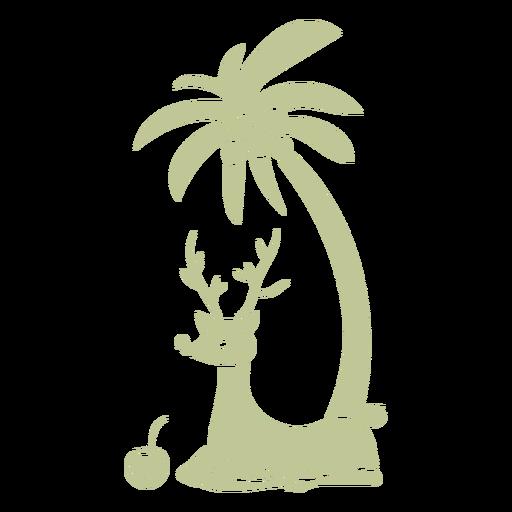 Sillhouette de Natal tropical escovado à mão - 1