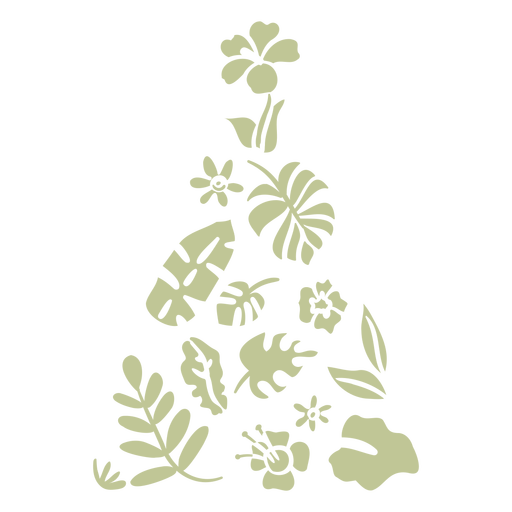 Tropical leaves elements cut out christmas tree
