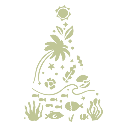 Sillhouette de Natal tropical escovado à mão - 12
