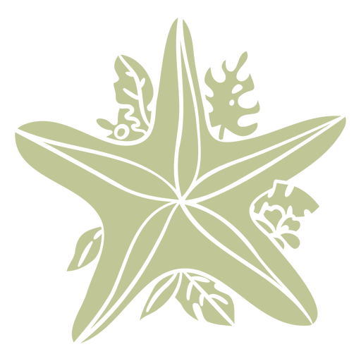 Starfish with leaves ornament cut out