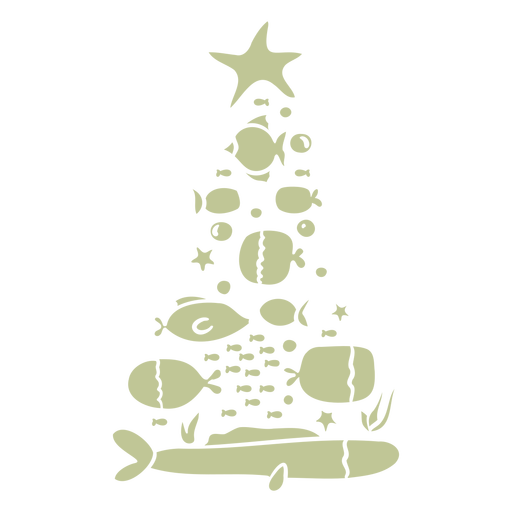 Sea animals christmas tree cut out