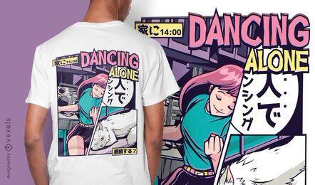 Design de camiseta anime dançando vaporwave