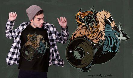 Diseño de camiseta vikinga con escudo.