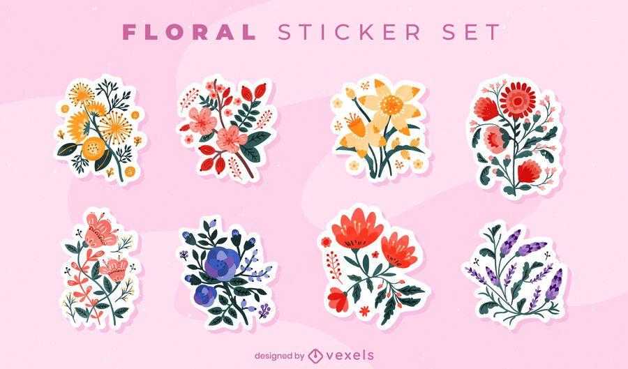 Flower bouquets sticker set