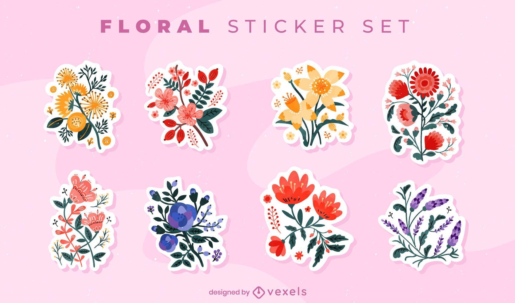 Conjunto de adesivos de buquês de flores