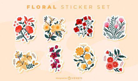 Conjunto de adesivos de buquê de flores coloridas