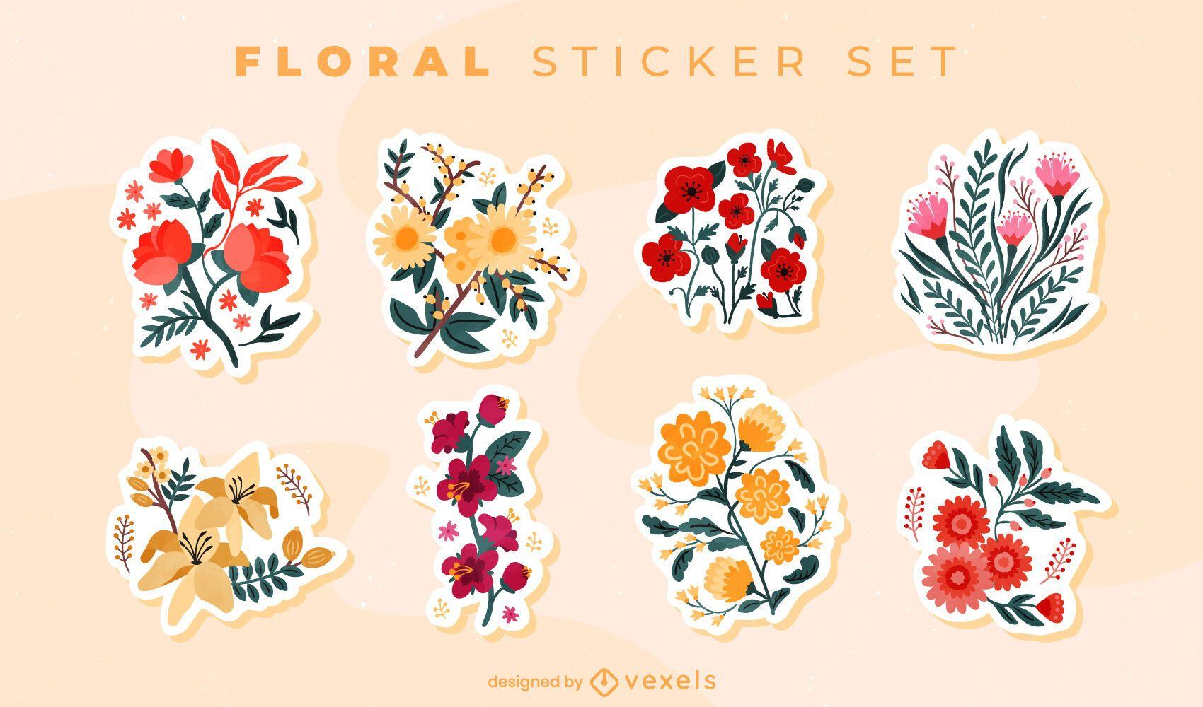 Conjunto de pegatinas de ramo de flores de colores