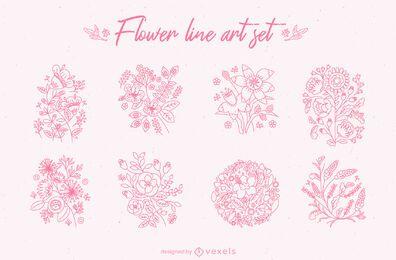 Conjunto de arte em linha de flores