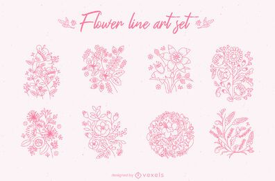 Flower line art set