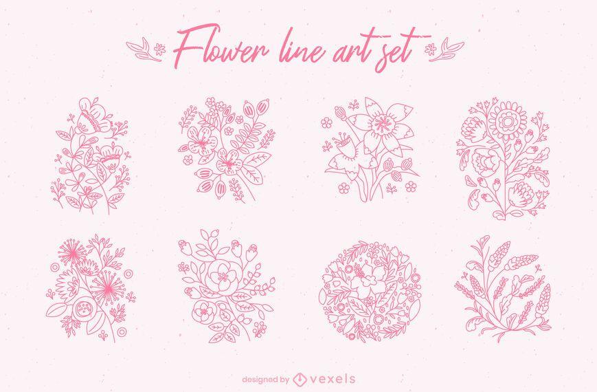 Flower line art set