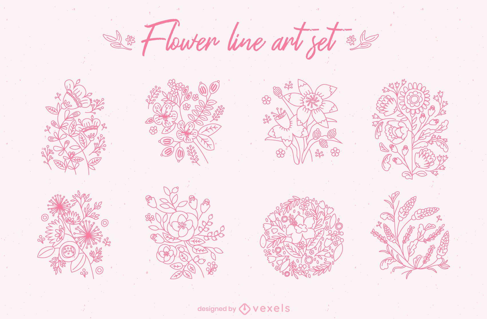 Conjunto de arte de línea de flores