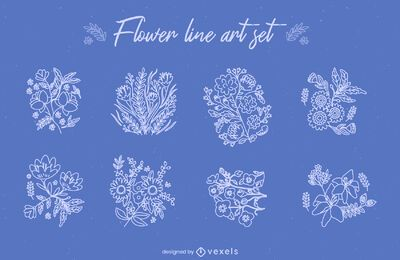 Flower bouquets line art set