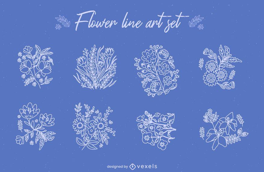 Conjunto de arte de línea de ramos de flores.