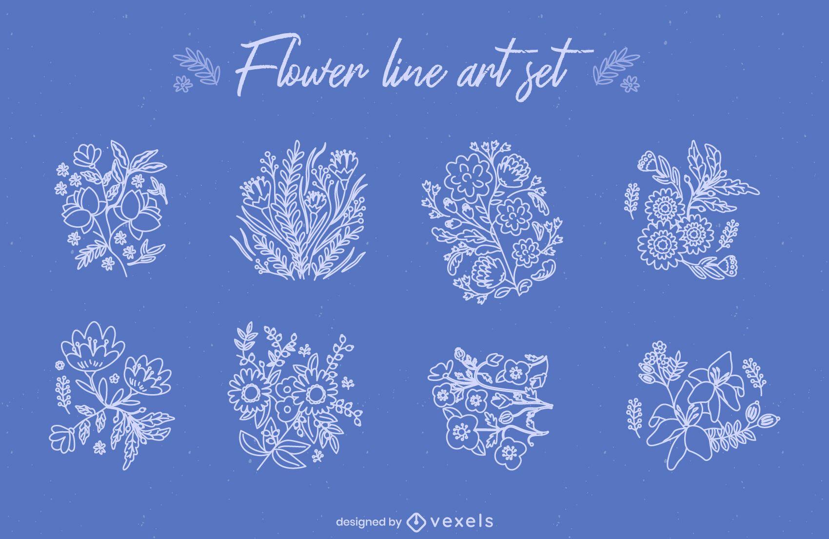 Conjunto de arte em linha de buquês de flores