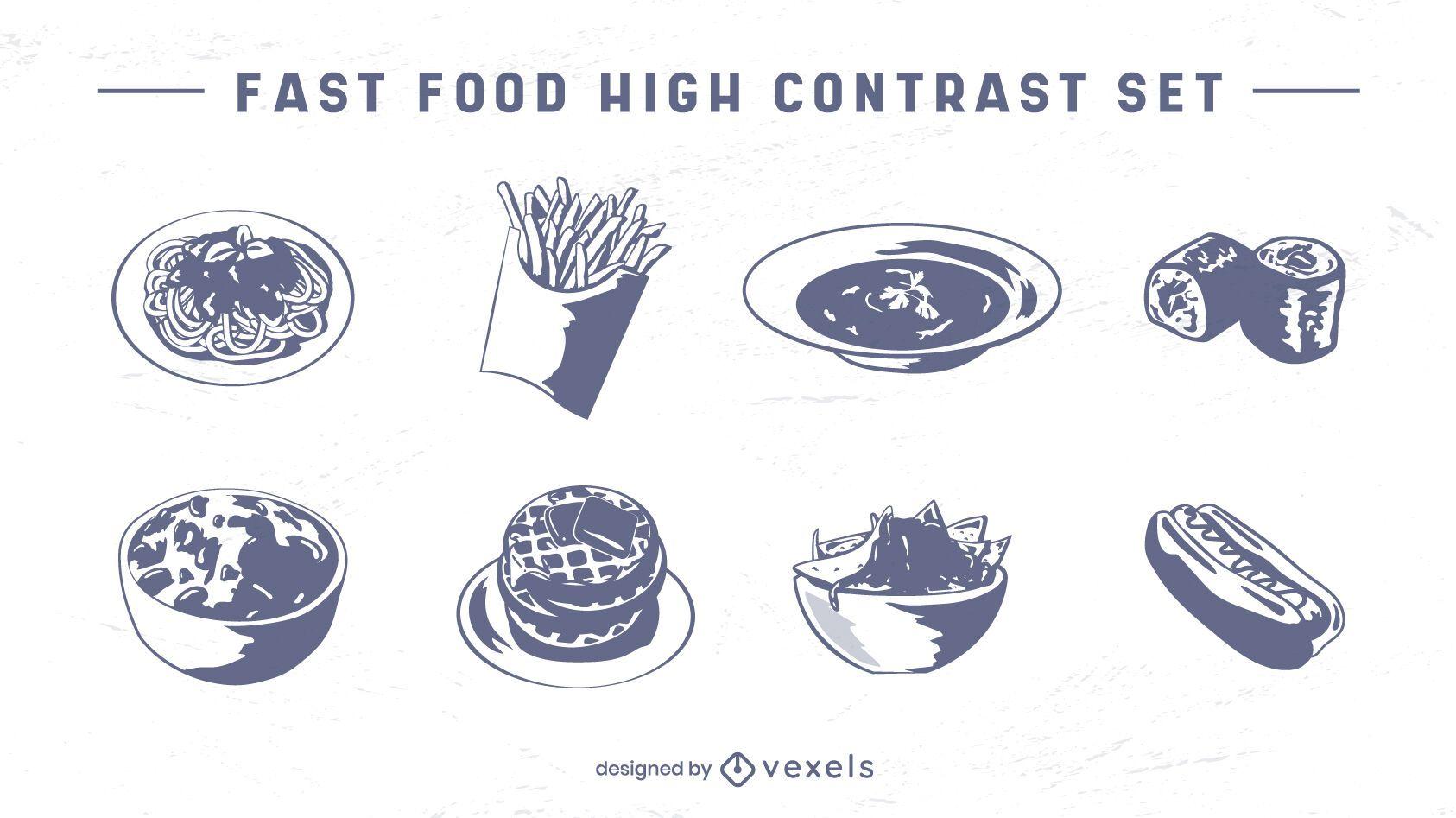 Fast food meals set