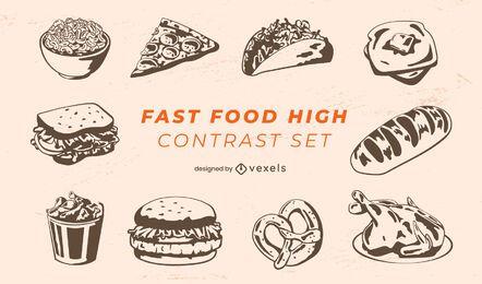 Pacote de refeições de fast food
