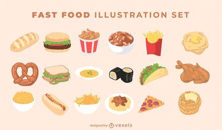 Pacote de ilustração de fast food
