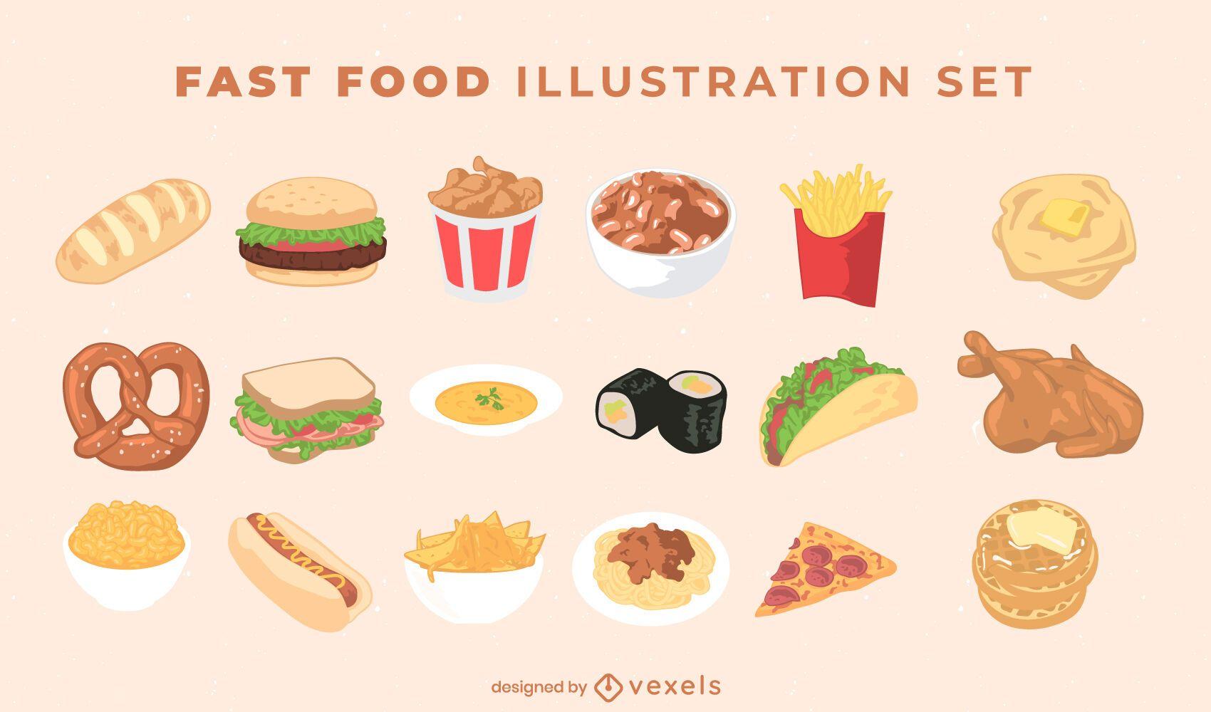 Paquete de ilustración de comida rápida