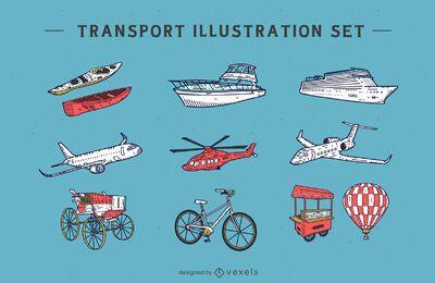 Conjunto de ilustración de transporte