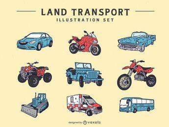 Conjunto de ilustração de transporte terrestre