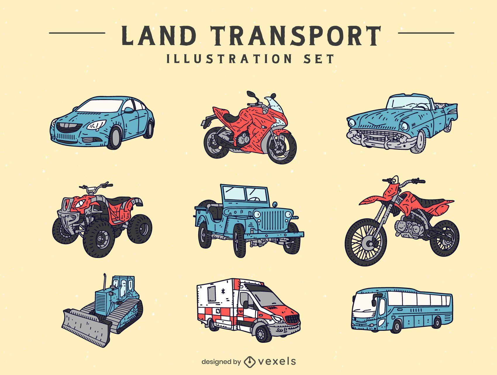 Land transport illustration set