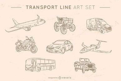 Conjunto de arte de linha de transporte