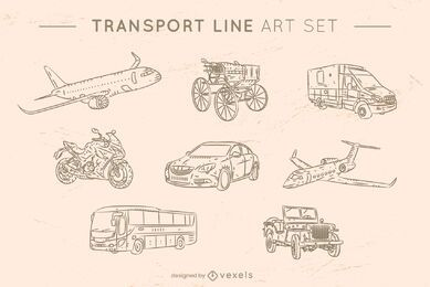 Transport line art set