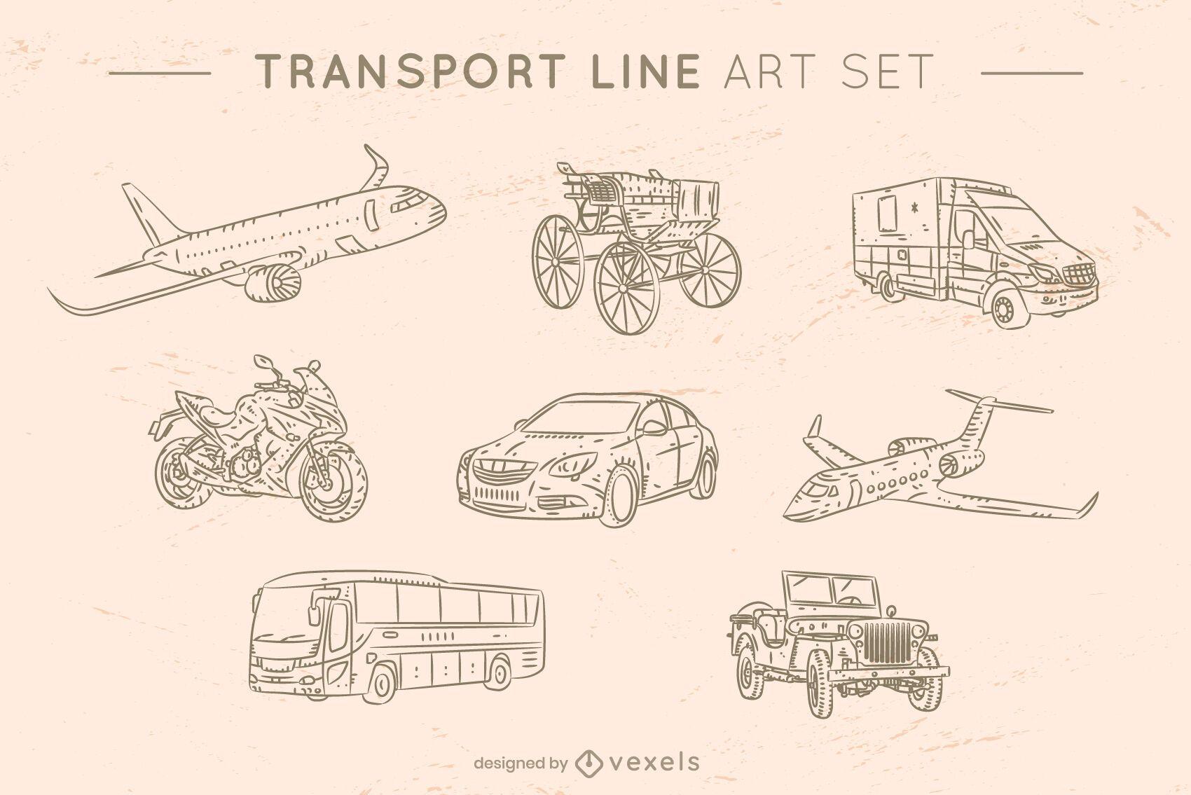 Transport line art set