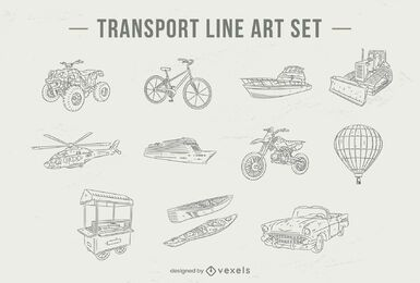 Transportation line art set